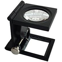 Lupa Bolsillo 10X 28mm Tela Escala de la medida Cuentahilos Metal (negro)  Plegable en 19be1fcb7f