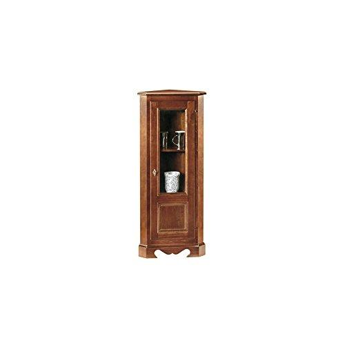 Vetrina ad angolo, stile classico, in legno massello e mdf con rifinitura  in noce lucido - Mis. 35 x 35 x 118