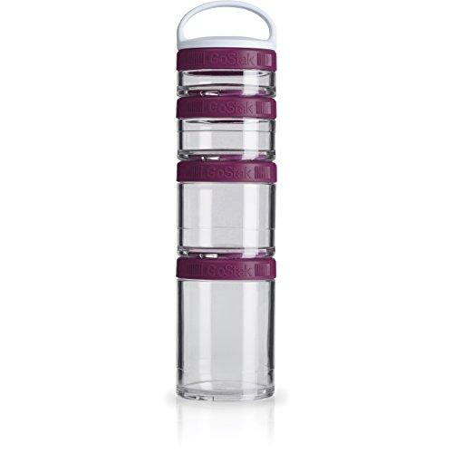 BlenderBottle GoStak Starter 4Pak, Contenedor de suplementos alimenticios con asa, plum, Pak de 4 (150ml,100ml,60ml y 40ml)