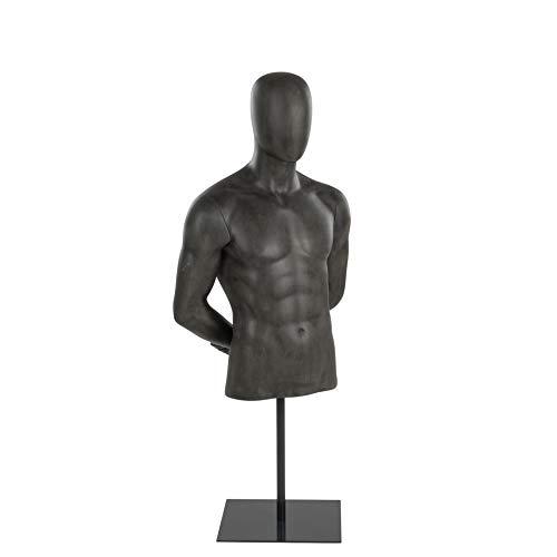ESTEXO Schaufensterpuppe Oberkörper grau von Hans Boodt, männlich, inklusive Standfuß