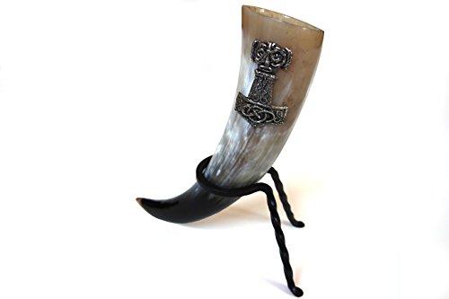 Trinkhorn Set 0,3l mit Halter Ständer Thor Hammer 7cm Wikinger Met Methorn (Thor Wikinger Kostüme)