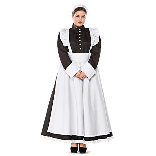 SDKHIN Dienstmädchen Kostüm French Manor Dienstmädchen Kostüm Baumwolle Schwarz Dienstmädchen Kostüm Langarm Kleid mit weißer Schürze und (Heißes Thema Weihnachten Kostüme)