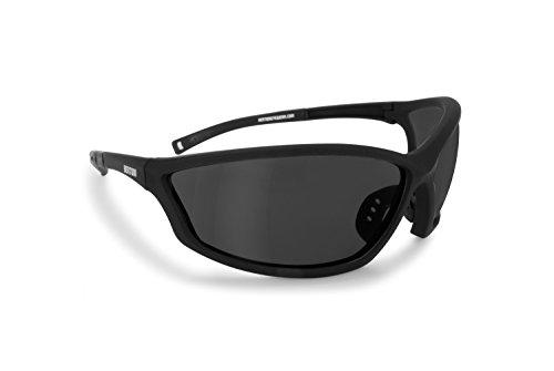Bertoni Sportbrille Sehstärke mit Adapter für brillenträger für Radsport Motorrad Ski Golf Lauf Running - by Italy AF100 (Grau) - Windschutz für Brillenträger