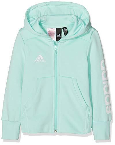 adidas adidas Mädchen Linear Full Zip Hooded Kapuzen-Jacke Clear Mint/White 110