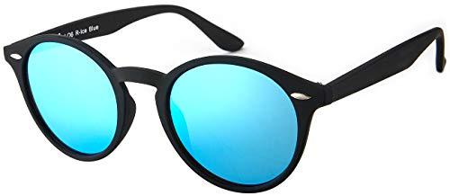 La Optica UV 400 Damen Herren Retro Runde Sonnenbrille Round - Einzelpack Rubber Schwarz (Gläser: Hellblau verspiegelt)