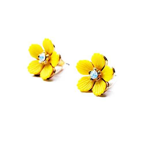 Emorias 1 Paar Ohrringe Diamanten Lindo Stil Blume Gelb Ohrringe Damen Kristall Mode Schmuck Zubehör
