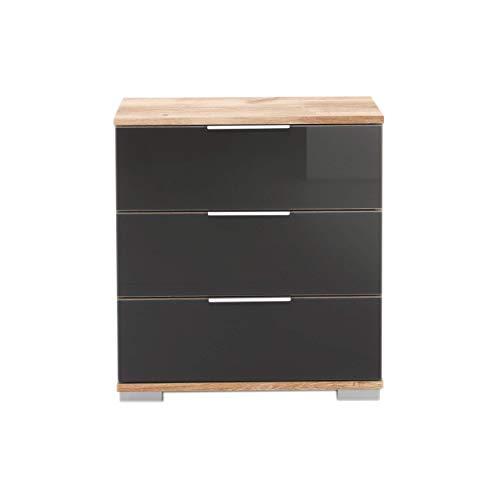 Wimex Nachttisch NIGO Grau Glas, Plankeneiche für Boxspringbett geeignet (Höhe 58 cm), Nachtkommode, Holz (MDF) und Glas, BxHxT: 52 x 58 x 38 cm, 3 Schubladen, Made in Germany, 1 Stück