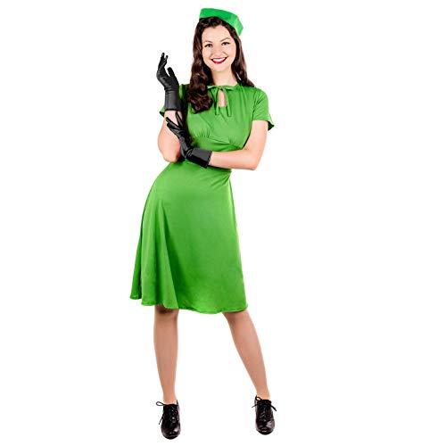 Fun Shack Damen Costume Kostüm, 40s Green Dress, m (1940er Jahre Kostüm)
