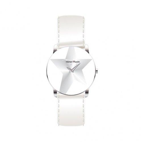 Thierry Mugler 4705203 - Reloj analógico de cuarzo para mujer con correa de piel, color blanco
