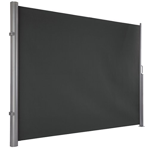 Ultranatura Maui Seitenmarkise ca. 180 x 300 cm, Seitenwandmarkise ausziehbar, Seitenrollo Balkon, Terrasse & Garten, Windschutz & Sichtschutz robust, grau