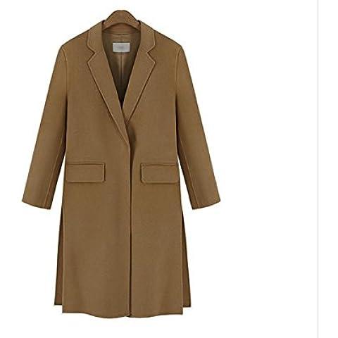 ZZHH abrigo de lana sección larga hendidura oblicua de las mujeres . xl