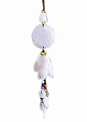 YONGYAO Auto Anhänger Sicherheit Anhänger Auto Hochwertige Jade Green Jade Car Accessories Hanging Ornaments Rückspiegel Auto Hängend-Weißer Urlaub Den Ganzen Weg Zum Frieden -