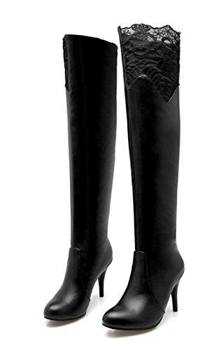 YE Damen Spitze Overknee Langschaft Stiefel High Heels Stiletto mit 8cm Absatz Boots Kniehoch Boots Elegant Fashion Schuhe Schwarz