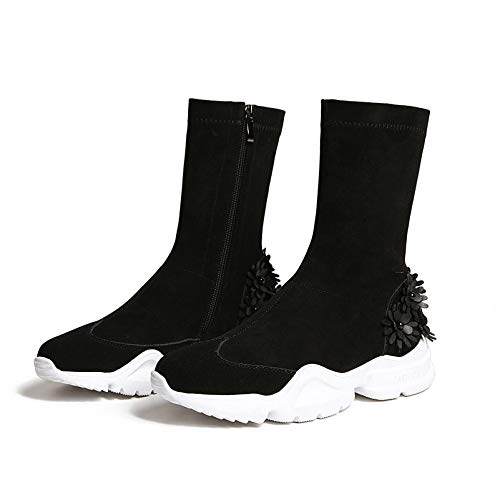 MENGLTX High Heels Sandalen Über Dem Knie Hohe Stiefel Wohnungen Plattformen Reißverschluss Stretch Schuhe Frau Blumen Party Nachtclub Enge Hohe Ritter Stiefel 3 2 (Stiefel Sandalen Plattformen 2)