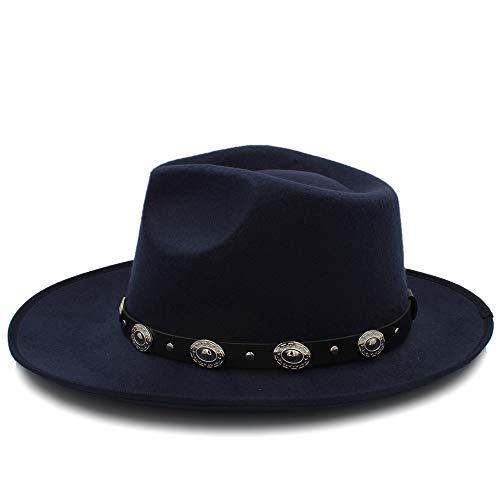 FeiNianJSh Moda Chapeau Wide Brim Autumn Lady Mujer Caliente Sombrero de Copa Jazz Cap Invierno Fedora Hat para Mujer Hombre Sombrero de Lana con Correa de Cuero