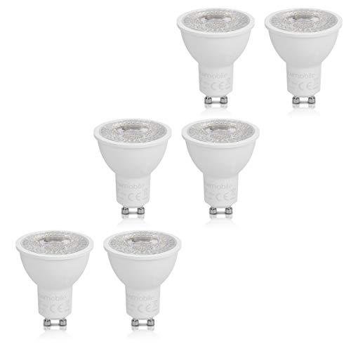 kwmobile Set de 6 bombillas regulables LED GU10 3000K - Focos en...