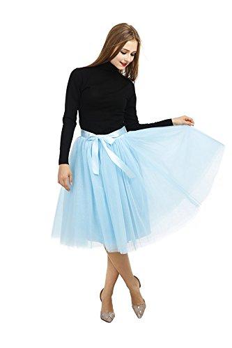 Pulchram Gonna in Tulle 7 Strati Sottogonna Balletti Petticoat Tutu con Cintura per Festa Party Skyblue