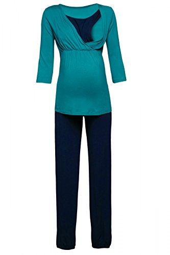 Happy Mama. Damen Umstandspyjama Stillfunktion Stillschlafanzug 3/4 Ärmeln. 060p (Wasser & Marine, EU 40, L) (3/4 Ärmel Schlafanzug)
