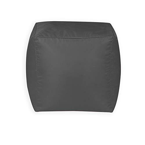 Bean Bag Bazaar Cubo Puf - 38cm x 38cm, Reposapiés Grande para Interiores y Exteriores (Gris, 1)