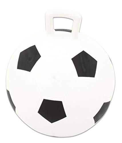 Betzold 36358 - Hüpfball Kinder belastbar bis max. 80 kg - Fußball-Design Sprungball - Spring-Ball Gymnastikball draußen