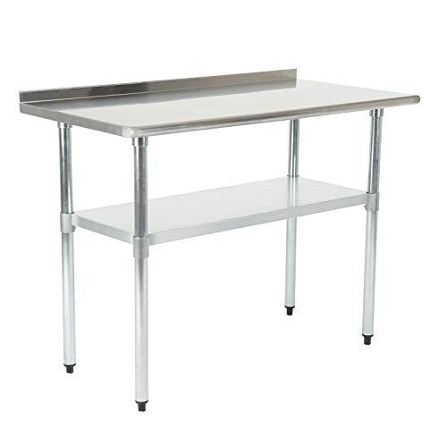 Tammible Zubereitungstischmit Backsplash Edelstahl-Tisch Arbeitstisch Küche Tisch mit Einstellbarer Großer Ablagefläche Küche-,Restaurant-, und Arbeitsvorbereitungstisch 91,5
