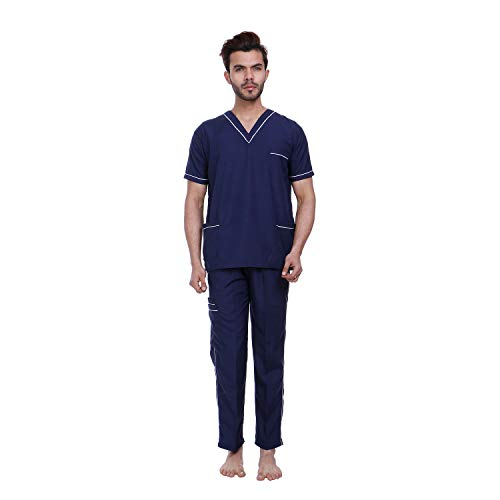 Proexamine Surgicals® Unisex Scrub Suit set with piping V-Neck 3 Pocket Top and Cargo Type Trouser (44-XXL, Navy Blue)