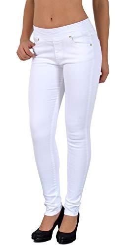 ESRA Damen Jeans Hose Skinny und Slim Fit Jeanshose mit Gummibund SkinnyJeans bis große Größen J291