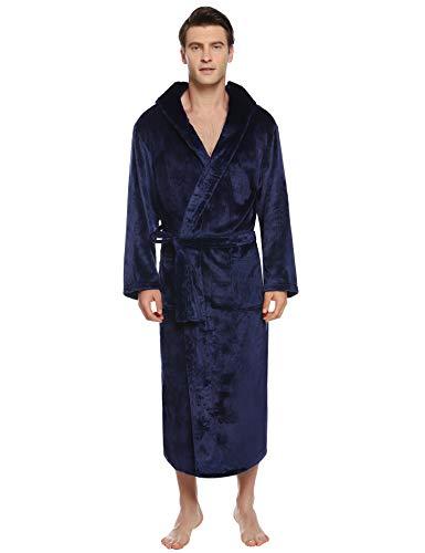 iClosam Herren Bademantel Nachthemd Flanell Winter Männer Langarm Zuhause Nachtwäsche Leicht Mantel Morgenmantel V Kragen mit Taschen, Große und hohe Lange Kapuze Plüsch Bademantel