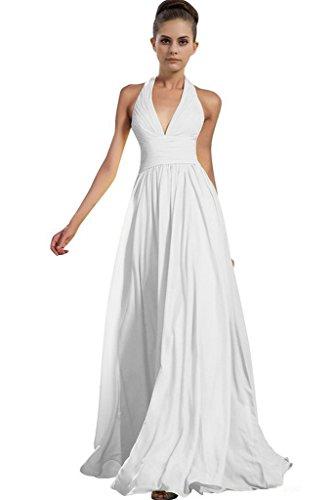 Gorgeous Bride Beliebt Lang Empire V-Ausschnitt Neckholde Elegant Lang Abendkleider Lang Chiffon Festkleider Ballkleider Lang Weiß