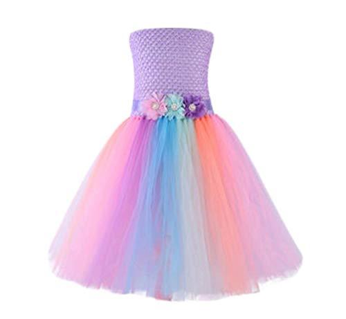 WangsCanis Regenbogen Buntes Einhorn Kostüme Tutu Prinzessin Kleider für Kleinkind Mädchen Geburtstag Party Abendkleider (7-9 Jahre)