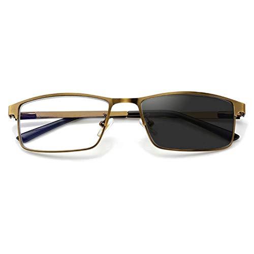 ADDG Intelligente Zoom-Lesebrille mit Lupe, gefederte Edelstahl-Sonnenbrille, zweifach verwendbarer Farbwechsel, Fernbedienung und geschlossen, für Männer geeignet,3.0