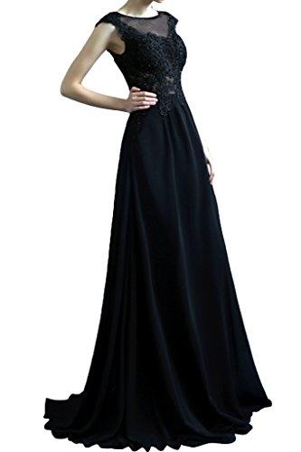 Promgirl House Damen Elegant Schwarz Chiffon Spitze A-Linie Abendkleider Ballkleider Festkleider Lang Schwarz