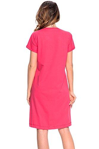 Dn-Nightwear TBL.9059 Subtile Chemise De Nuit Allaitement Femmes Manches Courtes Cotton Haute Qualité – Fabriquée En UE Rose