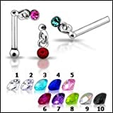 20 Pieces Mix All Color Pack in Mini box 925 Silver Hanging Set Jeweled 20G-6MM Ball End Nose stud Piercing Jewellery