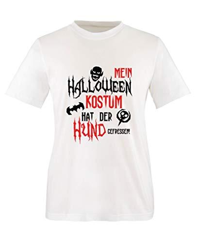 Halloween Kostuem hat der Hund gefressen - Mädchen T-Shirt - Weiss/Schwarz-Rot Gr. 152/164 ()