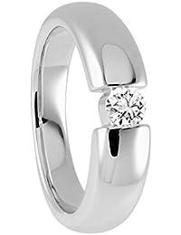 Diamond Line Damen - Ring 585er Gold 1 Diamant ca. 0,25 ct. getöntes Weiß Lupenrein, weißgold / gelbgold
