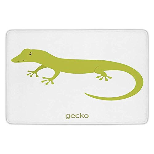 h Rug Kitchen Floor Mat Carpet,Reptiles,Cute Australian Lizard Illustration Smiling Kids Mascot Safari Theme Symbol Home,Pistachio White,Flannel Microfiber Non-Slip Soft Absorbent ()