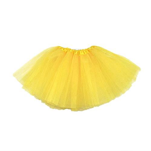 �llrock 3 Ebenen Prinzessin Kleid Ballett Tüll Halloween verkleiden Rock für Mädchen Gelb ()