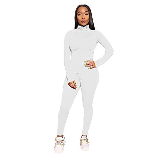 HWTOP Sport Trainingsanzüge Damen Sweatjacke Sweathose Sportanzug Langarm Mantel Hose Jogginganzug Mehrere Farben Freizeitanzug Sports Bekleidungsset, Weiß, Large