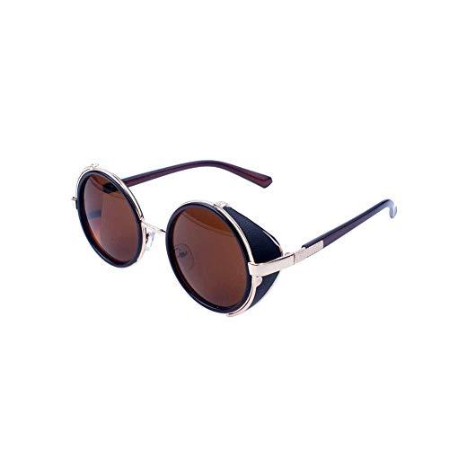Ogquaton Retro Steampunk Style Sonnenbrille Round Metal Circle Polarisierte Sonnenbrille Vintage Small Mirror Glasses UV-Schutzbrille für Frauen Brown Lens Langlebig und praktisch