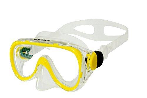 AQUAZON DOLPHIN Junior Medium Schnorchelbrille, Taucherbrille, Schwimmbrille, Tauchmaske für Kinder, Jugendliche von 7-14 Jahren, Tempered Glas, sehr robust, tolle Paßform , colour:gelb