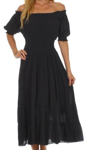 Sakkas 3702 Cotton Crepe Bauer Boho Renaissance Kleid - Schwarz/One Size
