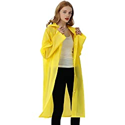 UniqueBella Impermeable Transparente Reutilizable Con Capucha Para Adultos Unisex Color Amarillo Tamaño Medium