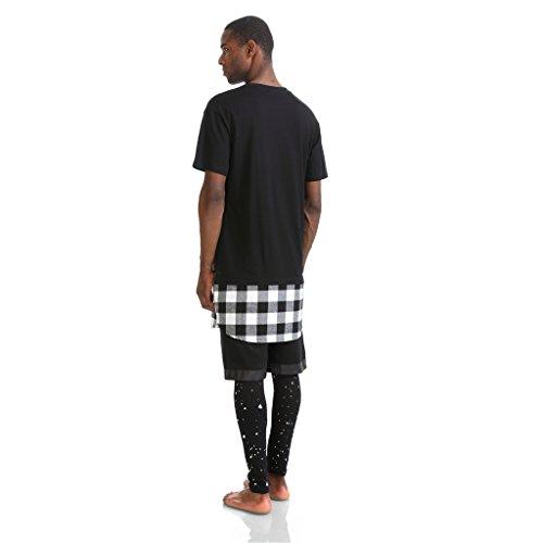 Pizoff Unisex Hip Hop Langes T-Shirt mit Karo Druckmuster Saum Reißverschluss K4106