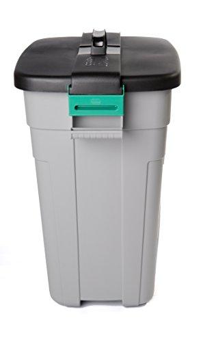 Addis Outdoor-Mülleimer mit verschließbarem Deckel, rechteckig, grau/schwarz, 90Liter