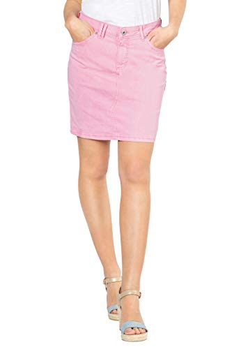 5-pocket Mini Rock (Stitch & Soul Farbiger Damen Pastell Jeans-Rock mit Schlitz Rose L)