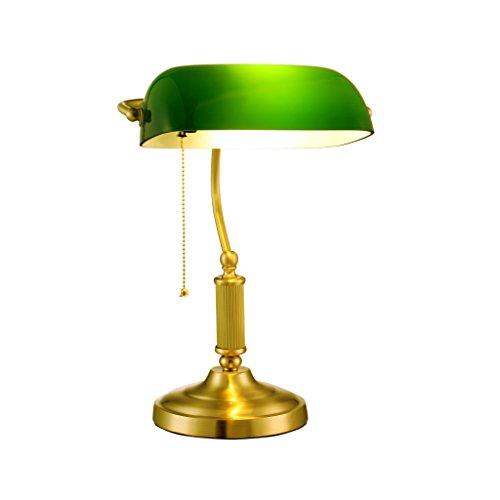 Glas Traditionellen Schatten (Yxsd Banker Tischlampe Antike Beleuchtung Schreibtisch Licht Home Office Traditionellen Stil Grün Glas Schatten Schreibtischlampe Art Deco Nachttischlampen)