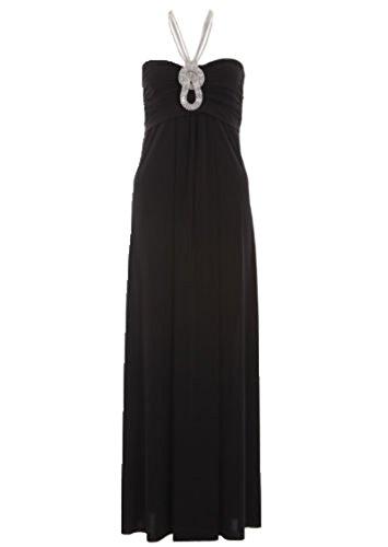 MIXLOT Ladies Sexy Jewel Stein Halter Halskette lange Maxi formales / party Wear Kleid Größe: 36-50 Schwarz