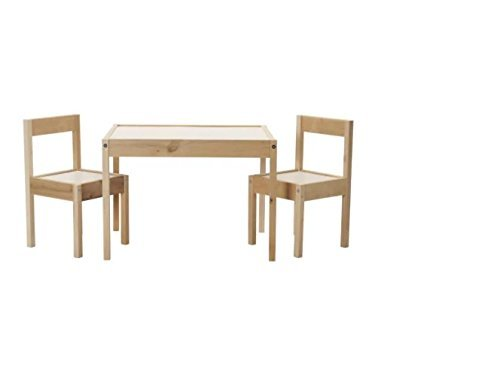 IKEA LÄTT Kindertisch mit 2 Stühlen, weiß, Kiefer