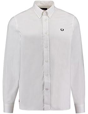 Fred Perry Hombres camisa de sarga clásica Blanco